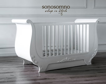 Luxury Nursery Furniture, Painted Solid Wood, Stylish Cot Bed, Safety  Certified, Unique