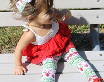 Red Reindeer Leggings-  leggings, Christmas, winter outfit, girl leggings, toddler leggings, baby leggings, fairisle leggings,