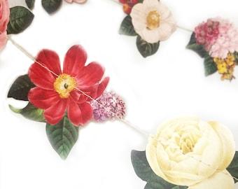 Floral, Hanging Party Decor, Floral Garland, Wedding Garland, Garland, Floral Wedding, Wedding Shower, Vintage Wedding, Paper Garland