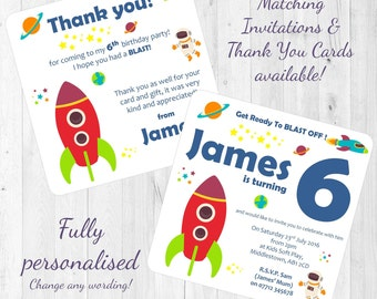 Rocket Spaceship Space Themed Personalised Birthday Party Invitations/Invites & Thank You Cards Boy's Celebration Printed with Envelopes