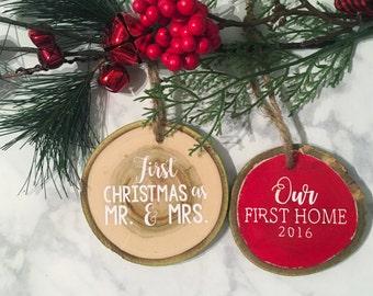 Wood Slice Personalized Ornament, Wood Slice Christmas Ornament, Rustic Wood Ornament