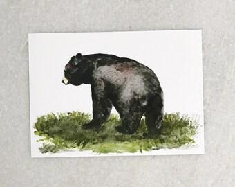 Watercolor 5x7 Black Bear Print