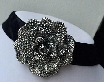 statement handmade black Velour Ribbon gothic Victorian boho bead necklace bib flower charm wedding summer holiday birthday gift 13-15 inch