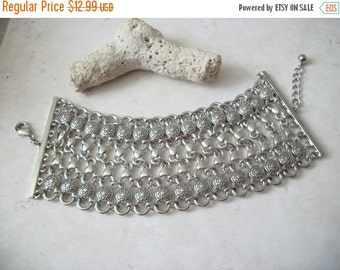 ON SALE Retro Chunky Very Wide Heavier Silver Links Metal Bracelet 111816