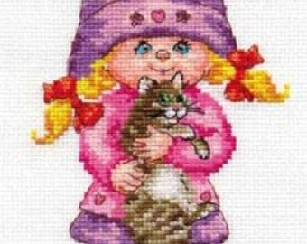Cross Stitch Kit by Alisa - Dasha; Cross stitch for beginners; Cross stitch for girls;  kids room decor; girl with kitty cross stitch