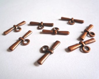 75 copper plated zinc alloy toggles, 22 mm bar charm, Toggle bars only, Bulk destash toggles
