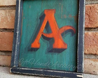 Antique Wood Letter A sign. Free-handed. Vintage signs. Sign painting. Monogram. Initial. Family name. Personalization