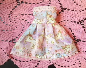 Pastel Strapless Unicorn lolita Dress for Slim MSD BJD