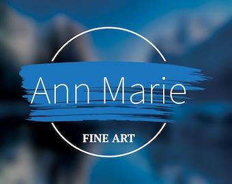 Premade Logos Fine Art logo Gallery artist painter brush stroke name customized personalized editable choose font change colors minimalist