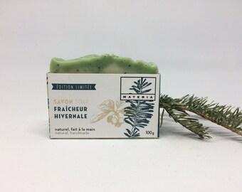 Winter breeze soap, mint, fir, rosemary, wintergreen, organic soap, vegan soap, poppy seed, exfoliating soap