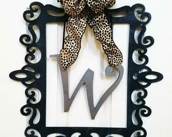 Black Wood Door/Wall Hanger With Leopard Print Bow
