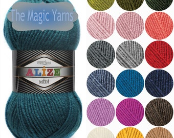 Alize Superlana Midi- wool blend yarn, aran, heavy worsted yarn, aran wool yarn, heavy weight wool yarn, knitting ,crochet yarn