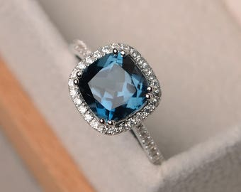 London blue topaz ring, blue topaz rings, cushion cut engagement ring, blue gemstone ring, sterling silver, halo ring