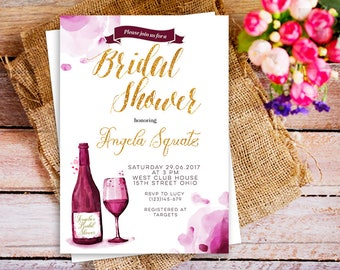 wine tasting theme bridal shower invitation wine bottle invitation burgundy bridal shower invitation