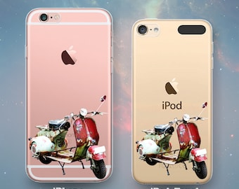 Vintage Italian Scooter Classic Motorcycle Scooters Motor Bike Mod Fun Cool Clear Rubber Case for iPhone 7 6s 6 Plus SE 5s 5 5c iPod Touch