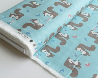 1/2 yard - Kiyohara Puti De Pome - Squirrels - Cotton Linen Blend - Japanese Import