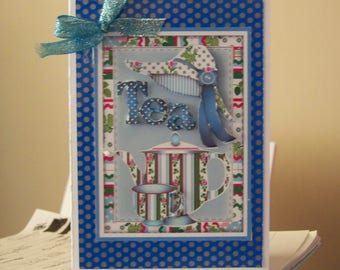 Hand made time for tea greetings card