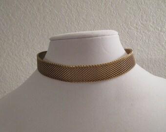 Vintage Gold Tone Choker Adjustable Necklace