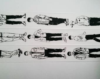 Design Washi tape of black and white guys