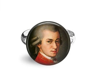 Mozart, 12mm Adjustable Ring, Classical Music, Gifts For Musicians, Amadeus, Wolfgang Amadeus, Amadeus Mozart