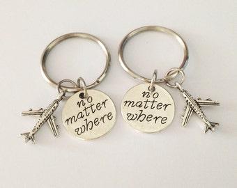2 airplane keychains - no matter where keychain - girlfriend keychain - friendship keychain - birthday