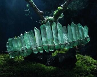 sea green quartz crystal tiara, cosplay headpiece, mermaid hair accessories, boho bridal headpiece, moon goddess crown, raw crystal hair