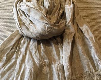 Pure raw linen scarf/ Linen scarf/ natural linen flex scarf/ beige cotton scarf