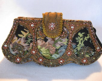 Vintage Indian beaded clutch unique scolloped base heavely beaded  unique and beautiful