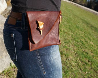 Leather Belt Pouch, Soft red brown leather rustic LARP belt bag, Foresters hip pouch