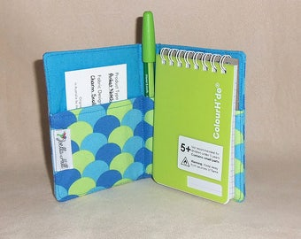 "Pocket Sized Notebook with fabric cover. Small gift shopping list in ""Charm Scollops"" by Joella Hill Australian Seller"