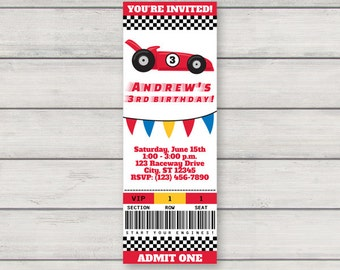 Race Car Invitation - Printable Racecar Birthday Party Ticket Invitation - Instant Download - Editable Text