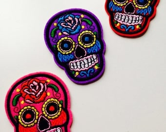 Sugar Skull | Skull | Patch | Choice Of Colours | Cute | Hipster | Trendy | Emo | DIY | Fashion | Retro