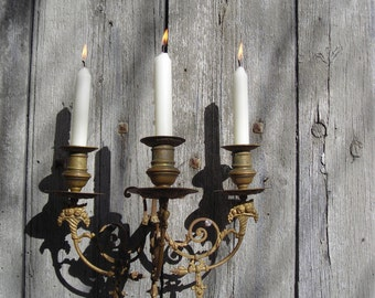 Vintage candelabra etsy for Bougeoir mural ancien