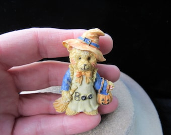 Vintage Halloween Ceramic Teddy Bear Scarecrow Pin By Boyds Bear