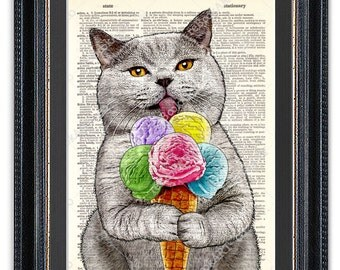 Cat with Ice Cream, Kitchen Art Print, Dictionary Art Print, Cat Wall Art, Funny Cat Print