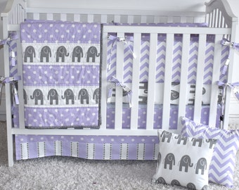Grey and Purple Elephants Crib Bedding, safari,Baby Girl,jungle, safari, modern nursery,lavender, chevron