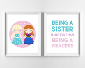 Princess Art Print, Frozen Elsa and Anna Sisters, Baby Girl Nursery Decor, Digital Wall Art, Disney Princesses, Instant Download 8x10