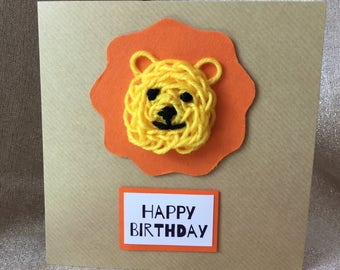 Knitted Lion Children's Handmade Birthday Card