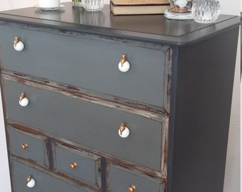 NOW SOLD Solid Wood Hand Painted Vintage Dark Grey Chest of Drawers Shabby Chic Bedroom Furniture Dresser