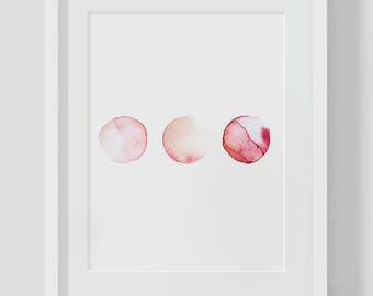 Abstract Watercolor INSTANT DOWNLOAD Art, Watercolor Printables, Watercolor Art, Pink Watercolor, Circle Art, Pink Printable, Gallery Wall
