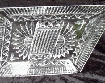 "Clear Glass Tray, Art Deco 1930's, Sunburst or Sunray Pattern, Most Likely Czechoslovakian, Dressing Table Trinket Set Tray, 11.75"" x 8.75"""