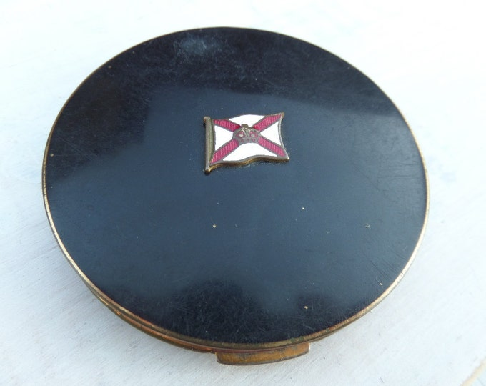 FREE SHIPPING Stratton Powder Compact, Compact in Hand, 'Royal Mail Steam Packet Company' Luxury 5 Star Ship Souvenir, 1931, Navy Enamel