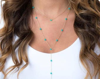 Turquoise Lariat Necklace | Turquoise Necklace | Lariat Necklace | Silver Lariat Necklace | Layered Necklace | Layering Necklace | Necklace