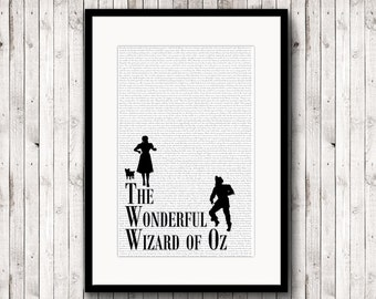 Wizard of Oz Print, Dorothy Print, Oz Poster, Wizard of Oz Art, Oz Watercolor Art, Oz Decor, Wizard, Book Page, Book Cover