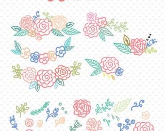 svg file,  flower svg, svg image, flower monogram, cricut design, hand drawn flowers, drawing flowers, flower vector  ID# svgfl2set