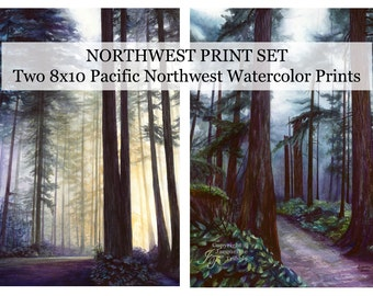 Northwest Watercolor Prints, Old Growth Forest Watercolor, Northwest Woods, PNW Trees, Hiking, Evergreens, Pacific Northwest