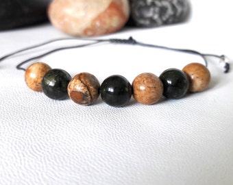 Mens Gift Bracelet Picture Jasper Bracelet Serpentine Bracelet mens mala bracelet Healing bracelet Mens Bracelet Mens Yoga Bracelet courage
