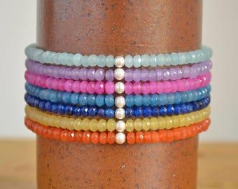 Agate Stone Bracelet - Gemstone Stretch Bracelets - Coloured Bracelets - Summer Festival Jewelry - Stacking Bracelets - Protection Bracelet