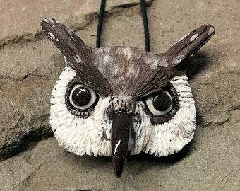 Owl Pendant, Great Owl Ceramic Necklace, Owl Jewelry, Handmade Horned Owl Necklace, Owl Lovers Necklace, Eule Anhängsel, Buho Colgante, Owl