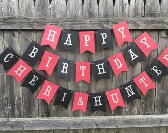 Happy Birthday banner. Black and red birthday banner. Silver glitter birthday banner. Personalized birthday banner.